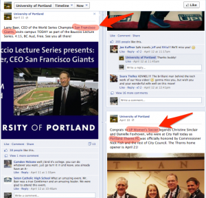 University of Portland Facebook page