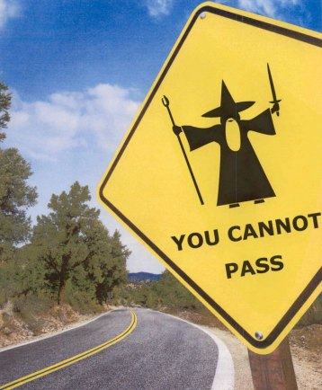 Gandalf, web content, road sign, obstacle