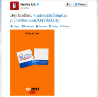 Netflix uses Twitter to capitalize on a popular show and a national day of recognition.